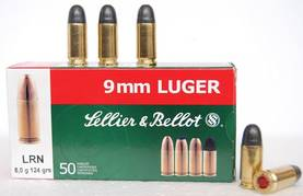 9mm Luger Sellier & Bellot 8,0g LRN 50kpl - 9mm - 8590690310432 - 1