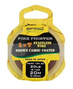 SPRO 1x7 Pike Fighter Stainless Wire, Brown Camou 40lb/18k,2kg. 20m - Perukkeet - 8716851147338 - 1